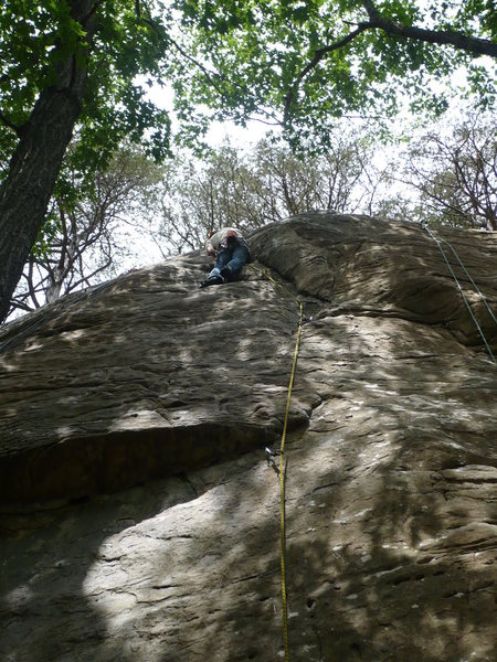 All zippered up. Rhoads nearing the top.<br> <br> Photo by: Paul Campbell