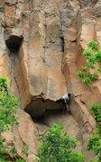 Rock Climbing Photo: The head smear.