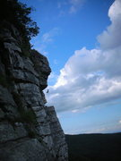 Rock Climbing Photo: Girl, Linda, dangling after falling off the crux o...