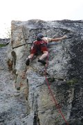 Rock Climbing Photo: Starting the crux on the Edge of Freedom's first a...