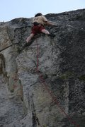 Rock Climbing Photo: Tricky sidepulls mid crux on Edge of Freedom