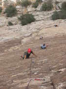 Rock Climbing Photo: Following up the 3rd. Kevin and Sara working on th...