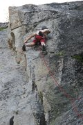Rock Climbing Photo: Chalking up prior to the crux on Edge of Freedom.