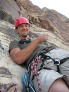Rock Climbing Photo: Cheesin! At the top of the crux pitch.
