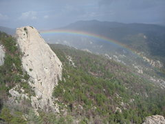 Rock Climbing Photo: Rappel Rock from the Orifice Wall after a storm.