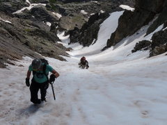 Rock Climbing Photo: Looking down the couloir from just below the summi...