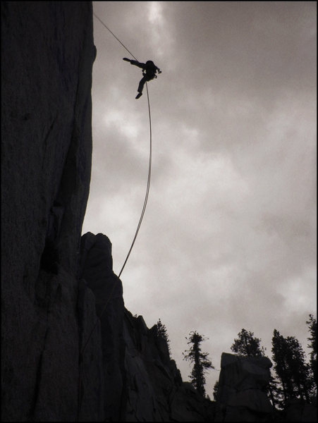 Rock Climbing Photo: rapping off the second pitch in a light rain