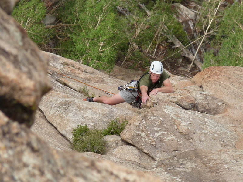 Rock Climbing Photo: Bill pulling out of the super fun and all-too-shor...