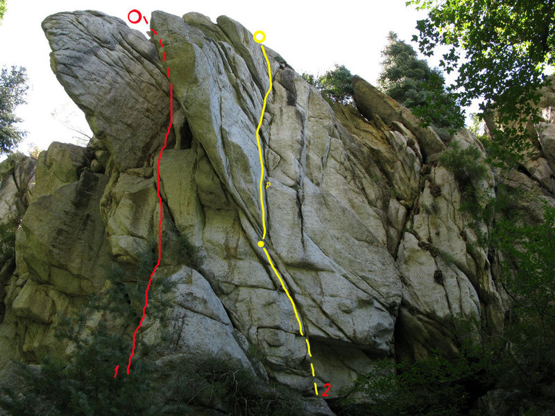 1. Route in between the large wing aretes.<br> <br> 2. Unknown bolt route.