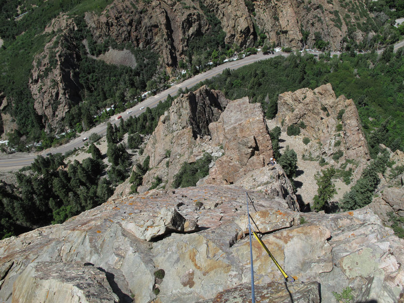 Rock Climbing Photo: Maura high on the Standard Ridge route.