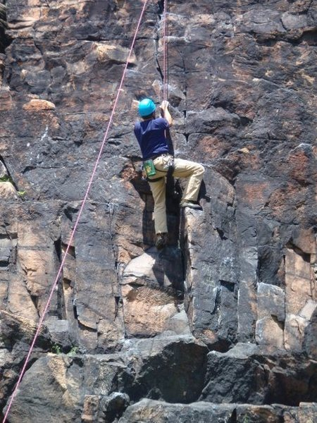 Firing the crux on Climbski.  Fun overhanging climb with bomber holds all the way up.