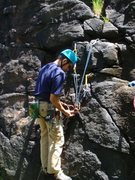 Rock Climbing Photo: Setting up a hanging belay (3 ft off the ground) f...