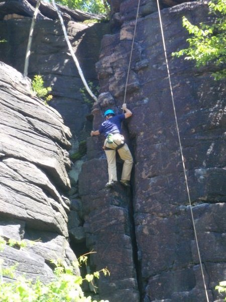 second highest climb on Moss Island.  A nice 5.7 called the Thinker.