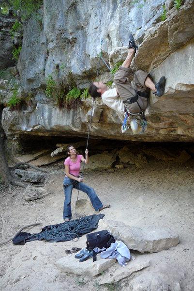 Rock Climbing Photo: Heel hooking the start on Austin, TX limestone in ...