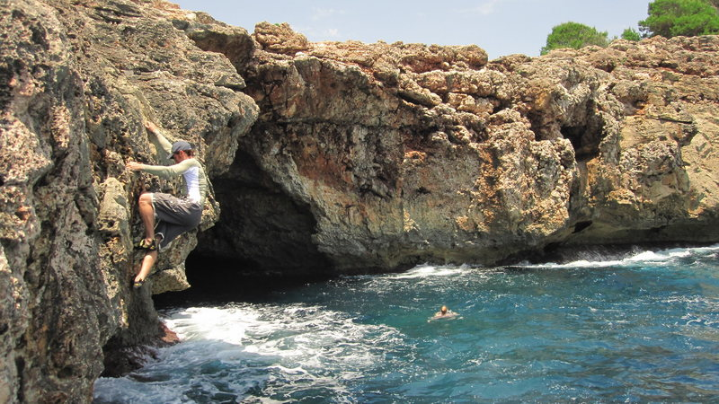 Rock Climbing Photo: Warming up at the Virgin Area of Cala Sa Nau.