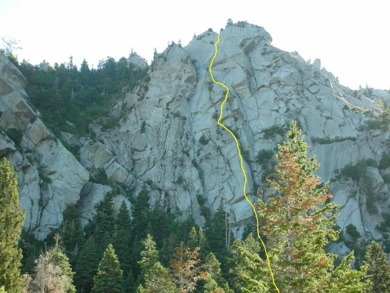 Rock Climbing Photo: The first few pitches are hidden behind the trees