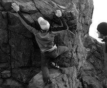 """Rock Climbing Photo: Aaron Parlier moving through """"Foot Kaput&quot..."""