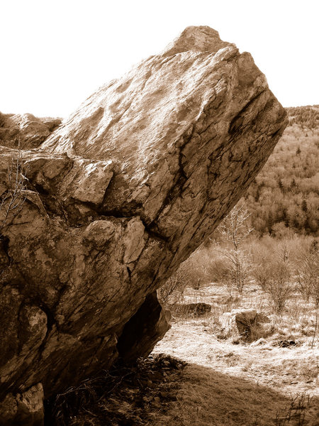 A profile shot of &quot;The Lonely Boulder&quot; highland Bouldering Area, Grayson Highlands State Park, Virginia.<br>
