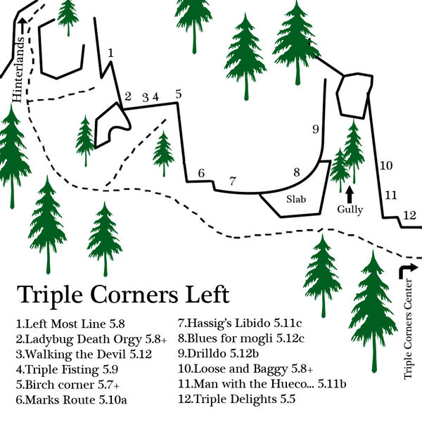 a map of the left end of Triple Corners... lots of new routes both trad and sport at the far left end...