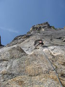 Rock Climbing Photo: Looking up pitch 1 of the route. Just above the cl...