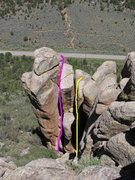 Rock Climbing Photo: Pink is Chimneying 101 and yellow is Know Your Ene...