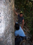 Rock Climbing Photo: Cobb Rock 7.7.09- Glen in blue (on Huston Crack), ...