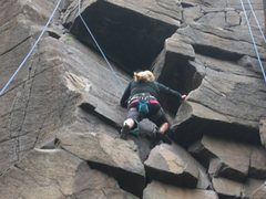 Rock Climbing Photo: Lexi nearing the roof.  She found the most difficu...