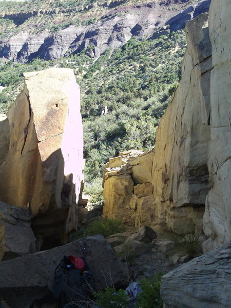 Rock Climbing Photo: Looking down Right Fork.