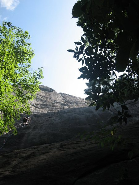 Rock Climbing Photo: Tim on P1 with full route and the namesake in view...