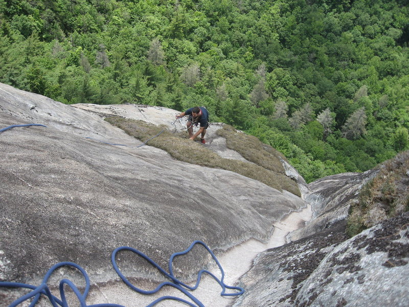 Rock Climbing Photo: Timmy following the top out P4 of Manatee Fluid. T...