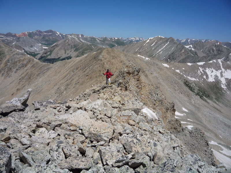 Approaching the summit of UN 13140'.