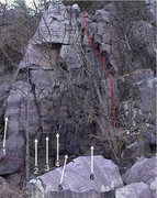Rock Climbing Photo: this climb follows the red line in the picture. So...