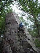 Rock Climbing Photo: Schu, pulling onto the big ledge.