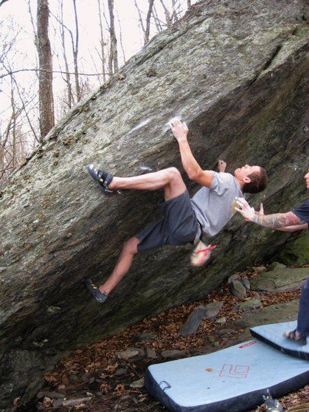 """Shane Messer on """"Choad"""" (V-4). Information Station Boulders, Grayson Highlands State Park, Virginia."""