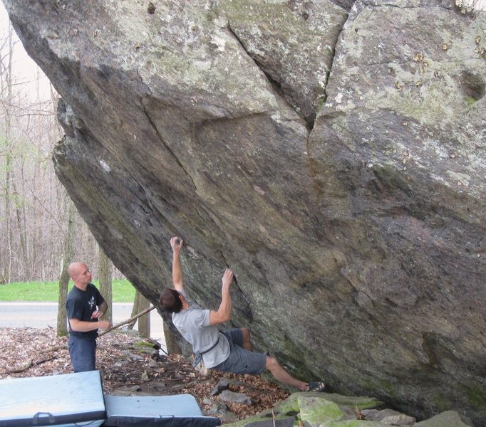 "Shane Messer and friends on ""True Grit"", Contact Station Boulders, Grayson Highlands State Park, Va"