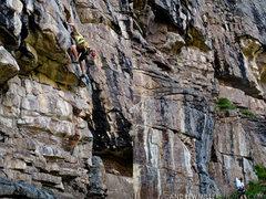 Rock Climbing Photo: Jamieson Stuart navigating the roof on Ceremonial ...