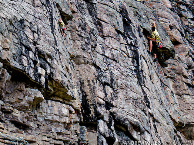 Jamieson Stuart finishing off and clipping the anchors on The Gentleman Who Fell.