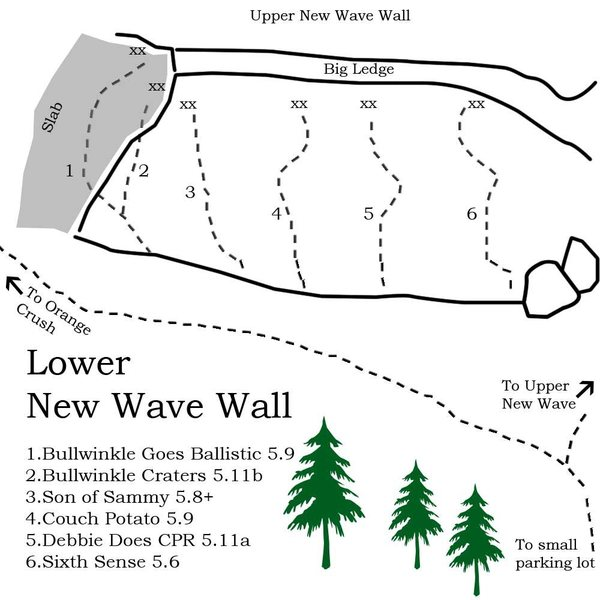 Rock Climbing Photo: A pretty simple map of Lower New Wave but it will ...