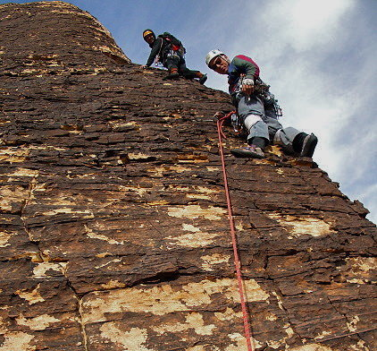 Climbers on the upper Ridge.
