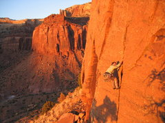 Rob Dillon on the 2nd ascent of Evening Ecstasy, just after the FA.