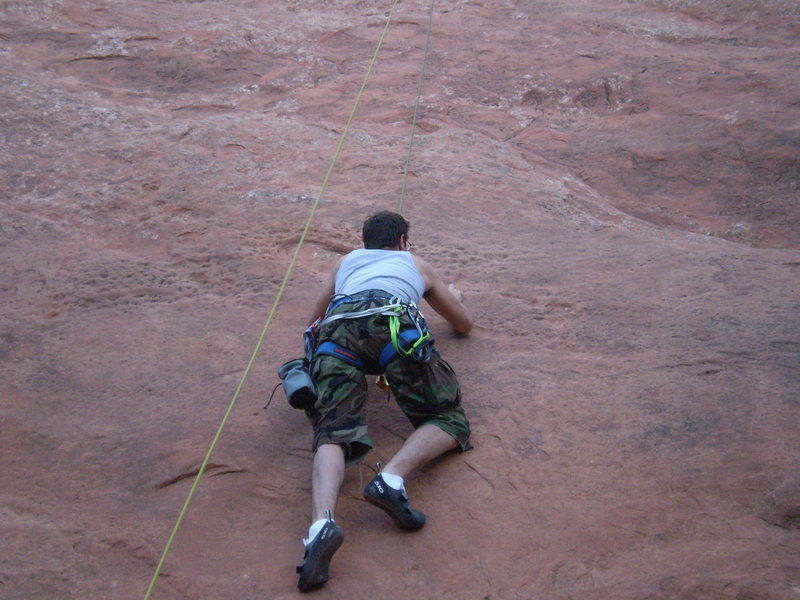 Josiah O'Neal smearing up Frigga (5.7 TR) on the Solar Slab.