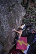 Rock Climbing Photo: Nic O. skipping the bad crimp.