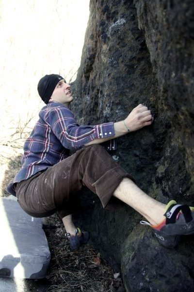 Rock Climbing Photo: Egg, in need of some beta, using a heel hook for t...