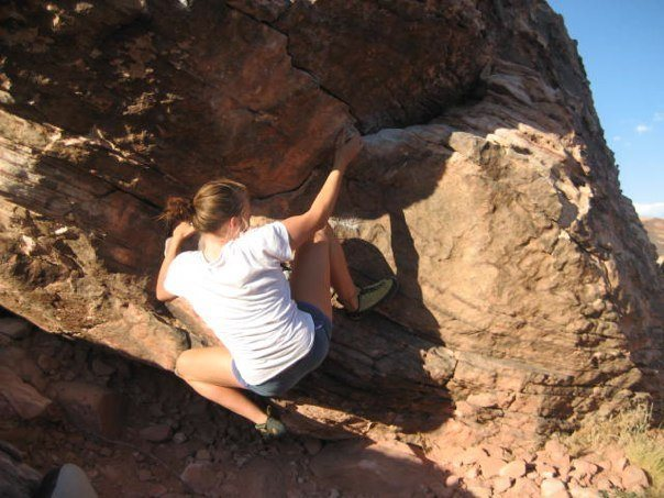 Rock Climbing Photo: Talia on unnamaed problem right of Picante Sauce