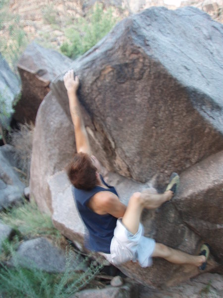 Rock Climbing Photo: Making the big throw.