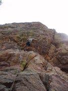 Rock Climbing Photo: starting the crux @ the first bolt