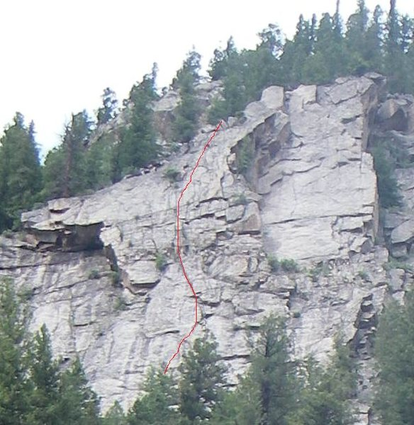 Rock Climbing Photo: Upper route in red.
