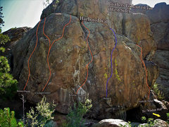 """Rock Climbing Photo: Photo beta for the """"Harbored Wall."""""""