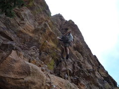 Rock Climbing Photo: Placing pro at the crux.  It's a little awkward fo...