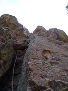 Rock Climbing Photo: Just above the crux on the first pitch.  The chock...